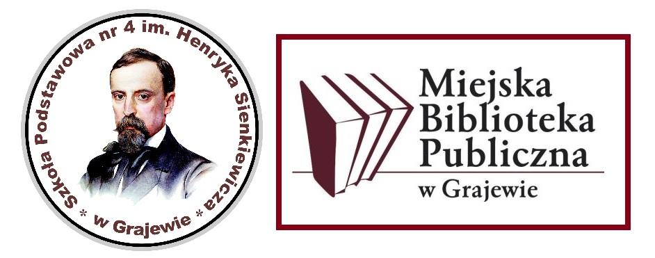 logo Czwórki i biblioteki miejskiej w Grajewie