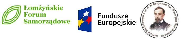 logo Łomżyńskiego Forum Samorządowego, Funduszu Europejskiego i SP nr 4