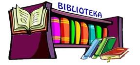 Półka z książkami i napis biblioteka