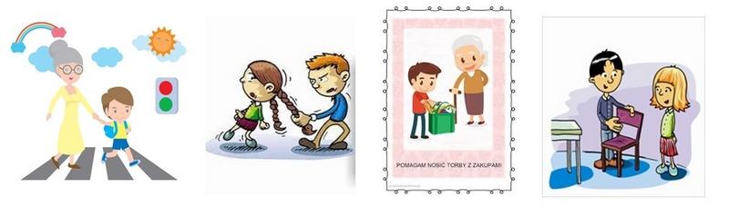 obrazki dla przedszkolaków właściwego i niewłaściwego zachowania